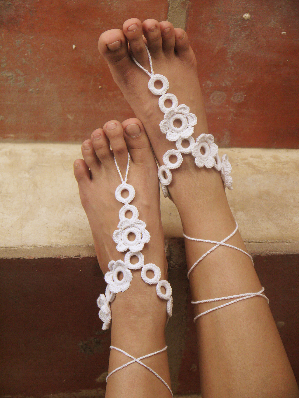 Crochet barefoot sandals Nude shoes Foot jewelry Beach wear Yoga shoes Bridal anklet bridal beach accessories lace sandals X005