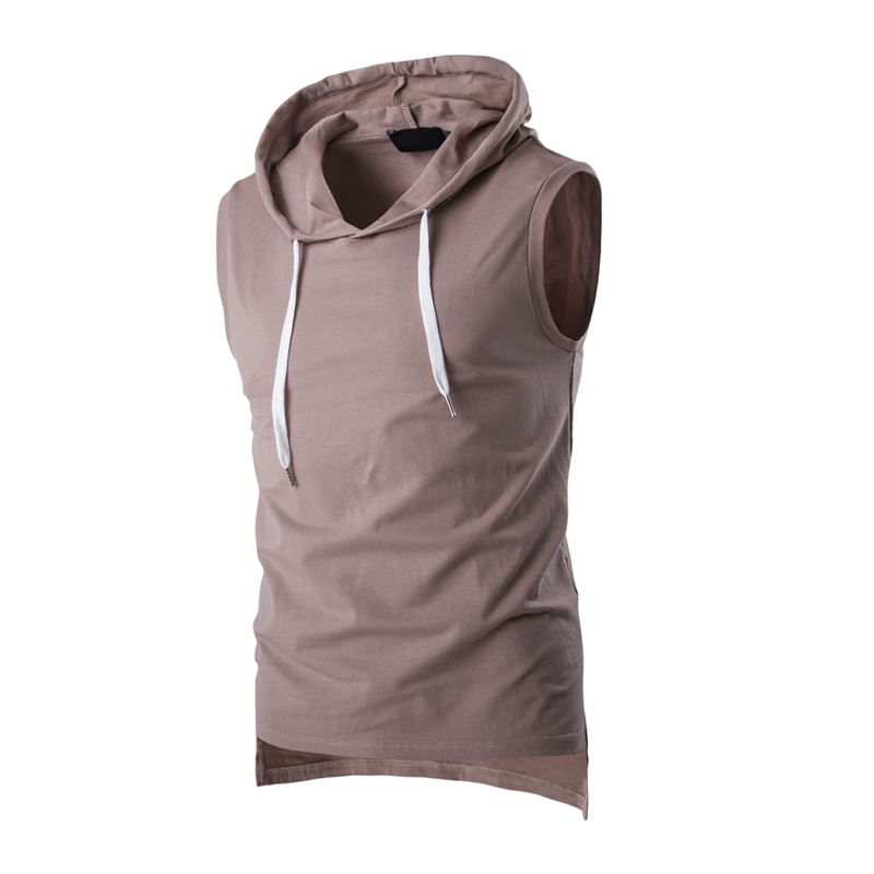 2017 Summer Casual Men`s Solid Sleeveless Sports Cotton T-Shirt Hooded Tank Top Hoodies Tee Men Bodybuilding Fitness Tops