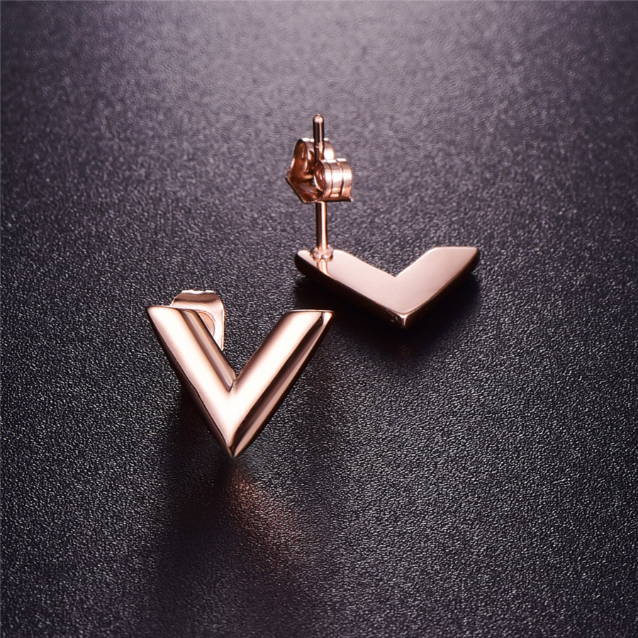 316L Stainless Steel Earrings For Women Rose Gold-color Brand V Letter Triangle Cute Stud Earrings Jewelry Gift