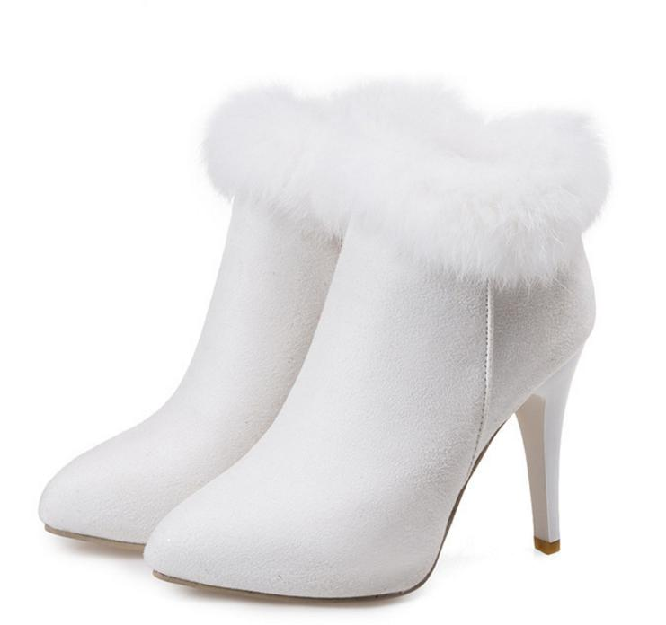 Keep Warm White Fur Boots Winter Ankle Boots For Wedding Party Plus Size 33 34 to 40 41 42 43 Women High Heel Shoes