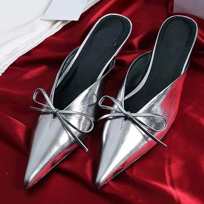Size 34-40 Fashion Women Sandals Pointed Toe Genuine Leather High Heels Women Pumps Wedding designer Shoes Woman Elastic band Bowtie