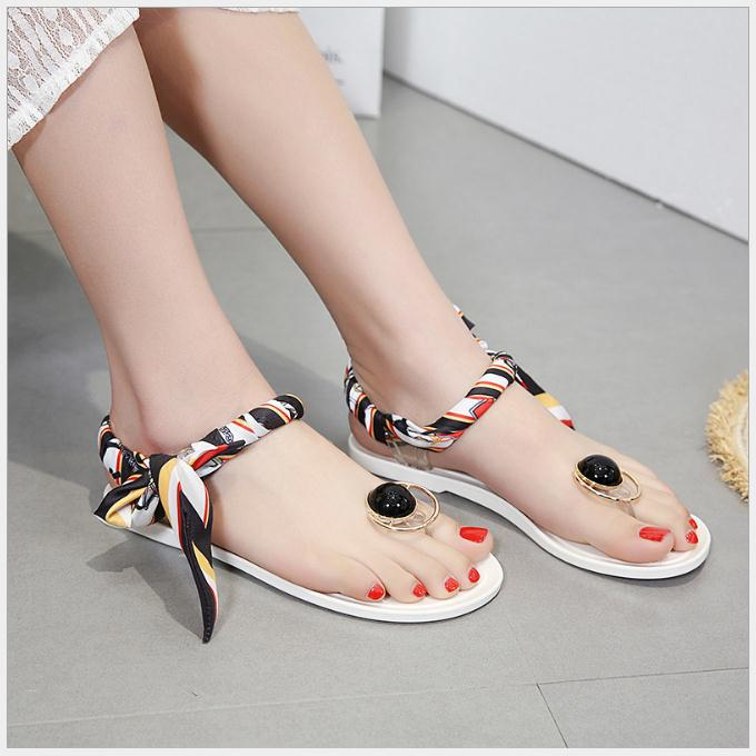 2018 New Jelly Ribbon Bow Ms. Toe Sandals Flat Heel Sandals Sandals