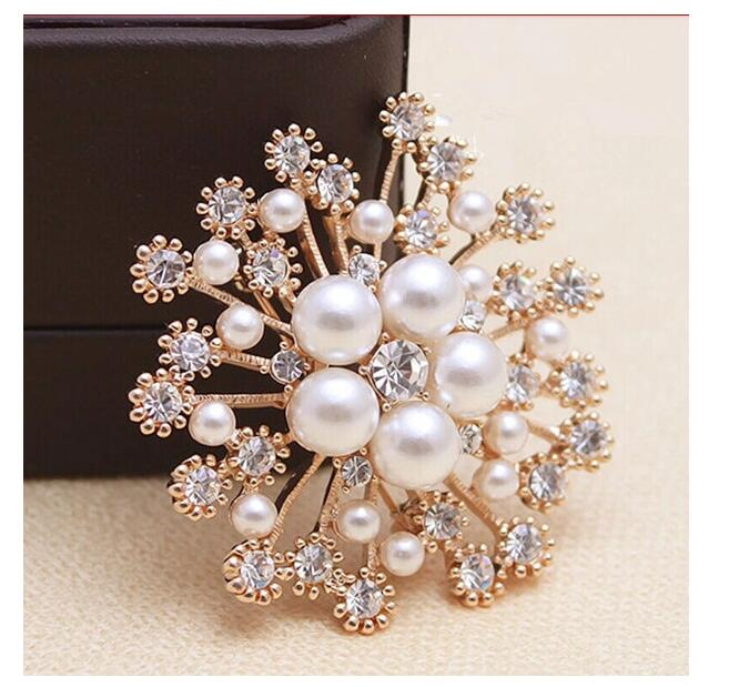 Charming Rhinestone Imitation Pearl Flower Brooches For Women Scarf Sweater Broches Coat Dress Pin Wedding Jewelry