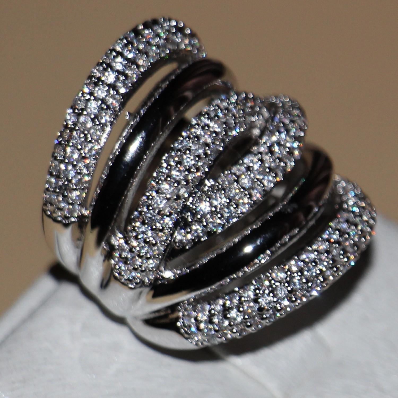 Größe 6-9 Blau Saphir Crystal Stein Ringe Damen Weiß Gold Gefüllt Verlobungsring
