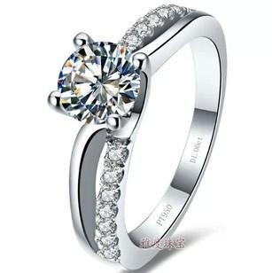 Free Shipping Fine 0.6,1 ct diamond ring , valentines, four claw ring Micro Pave models, female ring wedding ring Bridal Ring