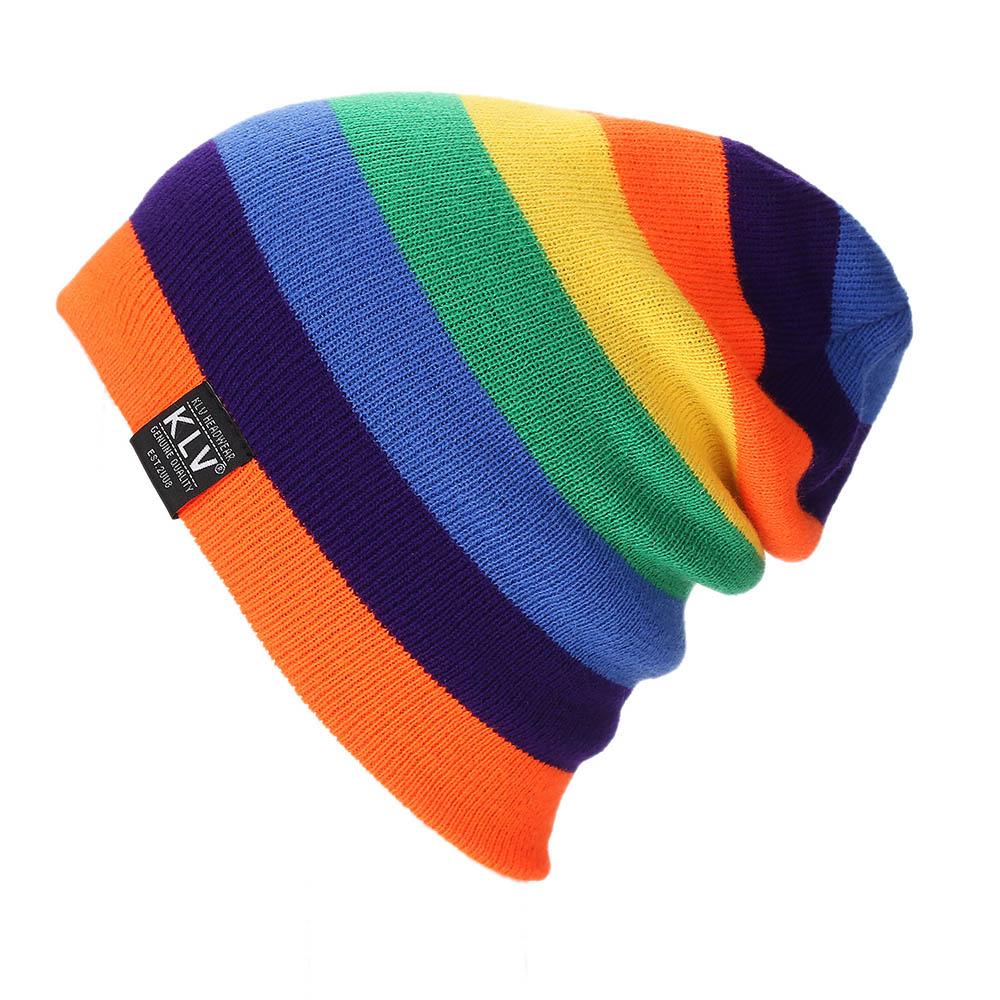 Unisex Winter Hats Gay Rainbow Pride Colors Sugar Skull Skull Caps Knit Hat Cap Beanie Cap for Men//Womens