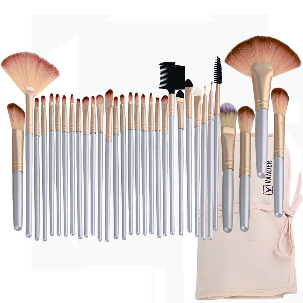 Professional Soft Champagne 32pcs Makeup Brushes Set Beauty Cosmetic Real Make Up Tools Eyeshadow Blush Set With Brush Bag (2)