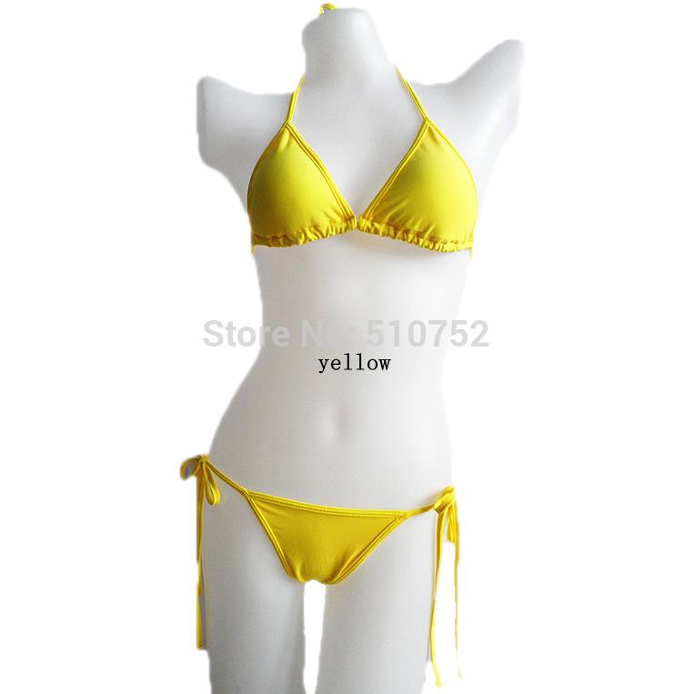 Verão New Hot Sexy Pure Color Mulheres Bikini Set Bandage Swimsuit Brasileiro Multi-cor Victoria Frete Grátis Maiô Crochet Swimwear