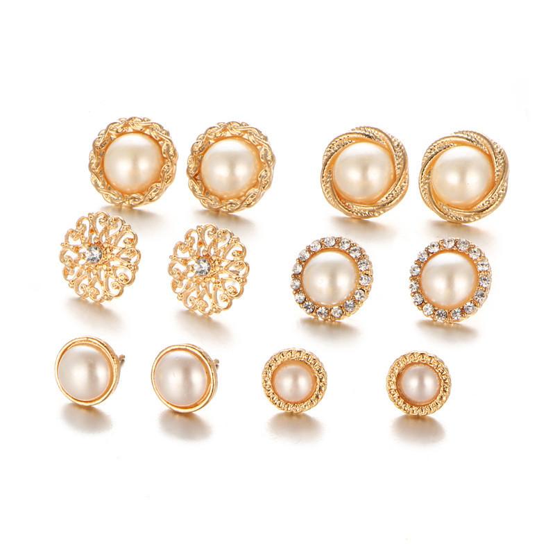 Golden Imitation Gift Sterling Rhinestones Earring Butterfly Ear Stud Pearl