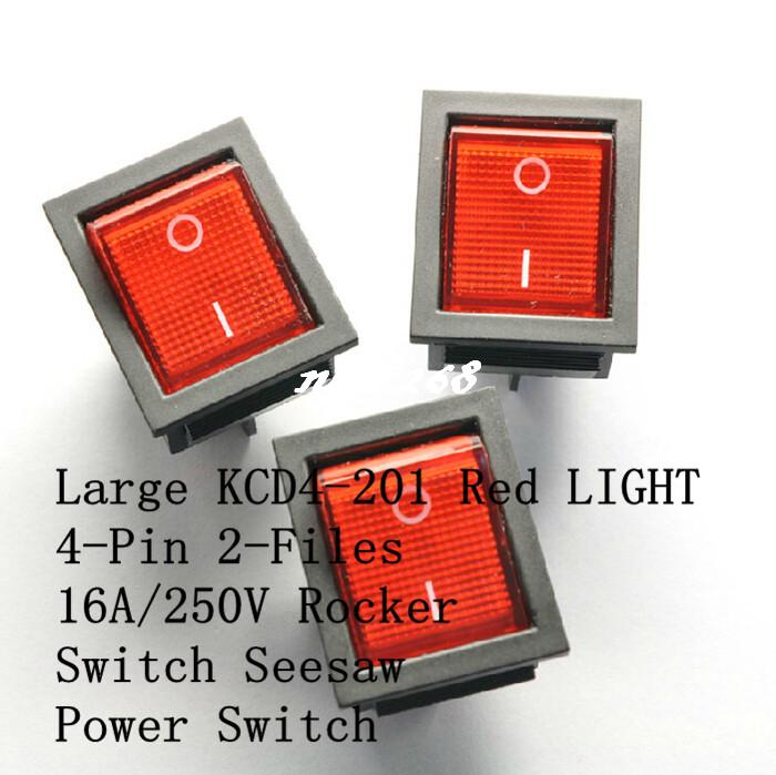 Interruptor 5Pcs 16A//250V KCD4-201 Verde Lámpara 4 Pin DPST ON//OFF 2 posición Co
