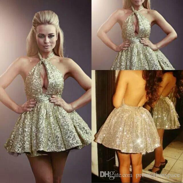2016 Sexy Gold Halter Backless Short Homecoming Dresses Gliter Sequins Mini Short Cheap Prom Party Gowns Cocktail Dresses