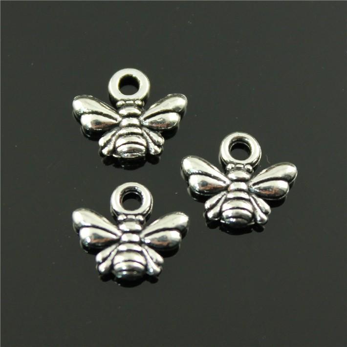 500pcs/lot 10*11mm vintage 2 colors antique silver, antique bronze plated zinc alloy bee charms DIY for handmade