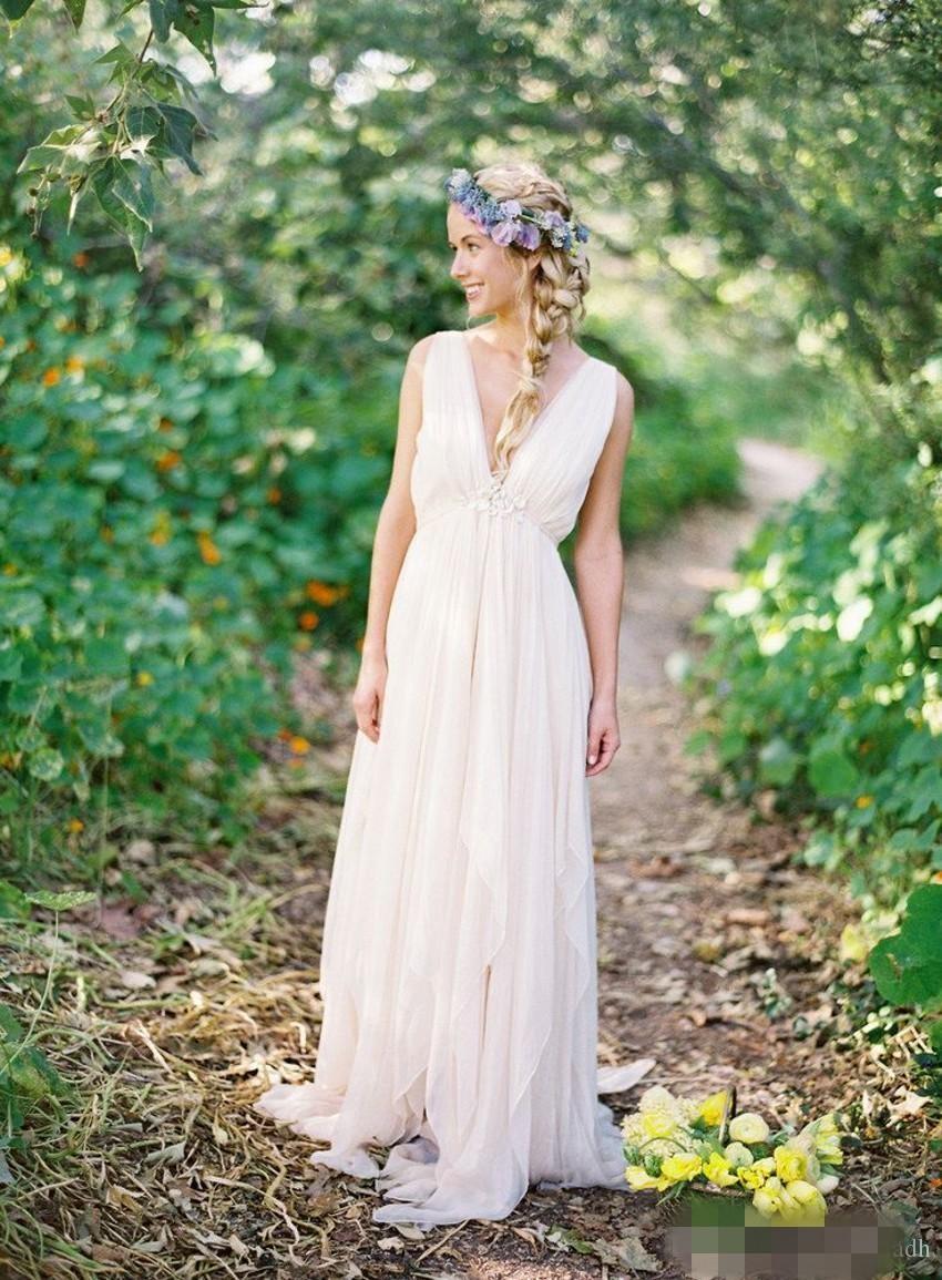 Griechische rückenfreie Strandhochzeitskleider mit V-Ausschnitt Fließende  Vintage Boho Brautkleid A Line Vintage griechische Göttin Brautkleid Sommer