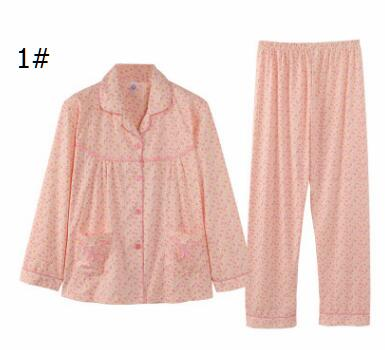 DHgate coupon: Autumn and winter new women's cotton cardigan floral long-sleeved pants pajamas old mother's home clothing suit wholesale
