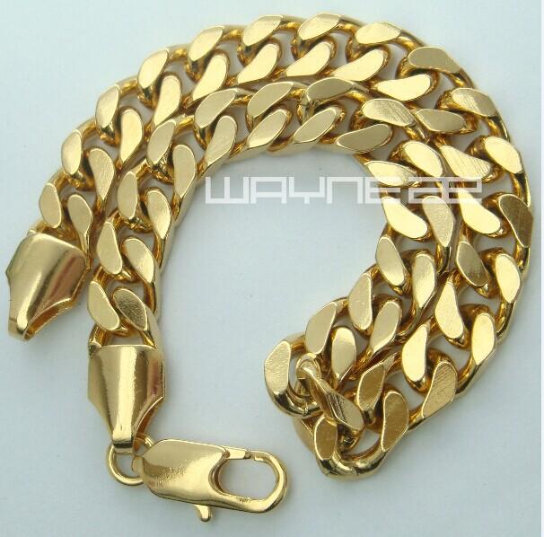 Bracelet Cuff Bangle 18k Yellow G//F Gold Solid Women/'s Men/'s Curb Design 19cm