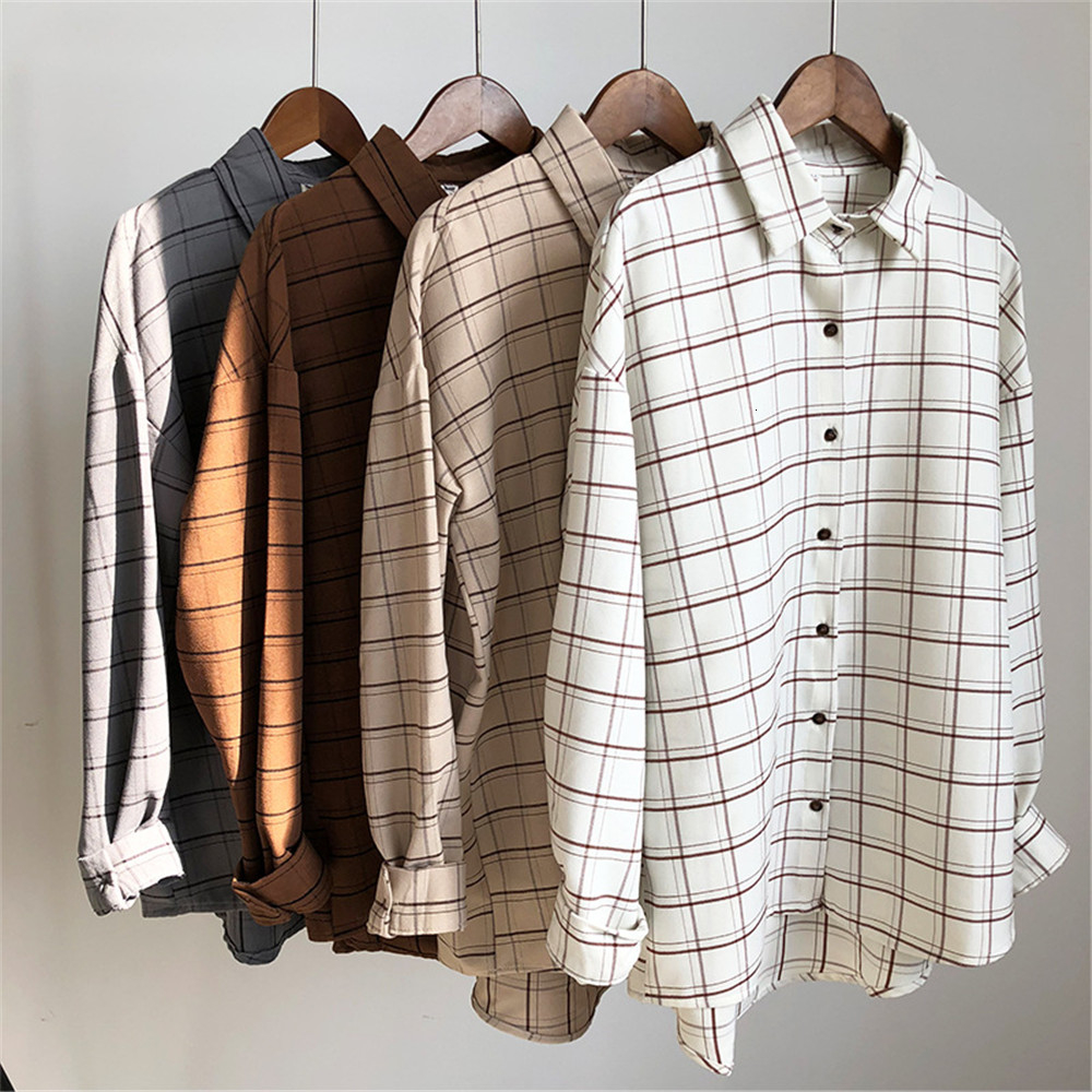 Loose cotton Checkered plaid College blouses shirt Cage female long sleeve Casual women Blouse shirt office lady tops (1)