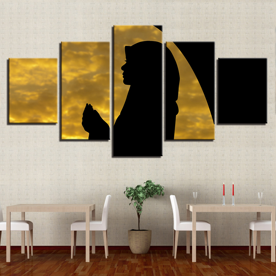 Modern Style Decorative Framework Popular HD Poster 5 Panel Girl Landscape Wall Modular Pictures For Living Room Canvas Painting
