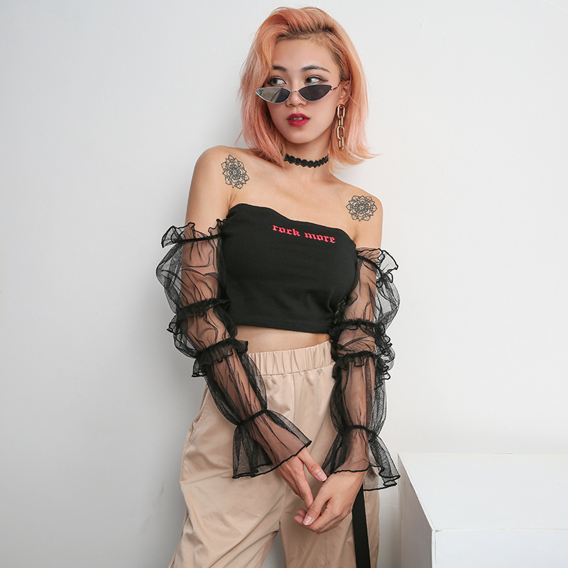 Clothes T-shirts For Women Korean Gothic Fashion Black Off Shoulder Long Sleeve Crop Top Punk Rock Style Mesh Shirt Q190522
