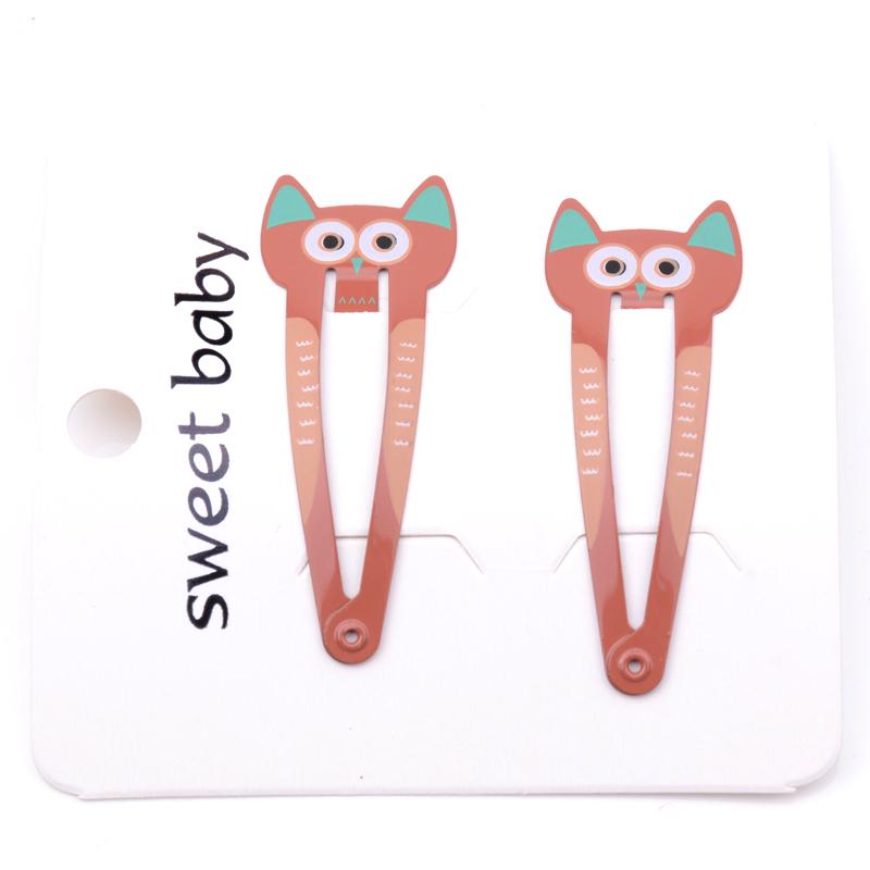 Children Fashion Hairpins Headwear Set Girls Cartoon Owl Cat Animal Bb Clips Kids Printing Hair Clip Hair Ornaments New