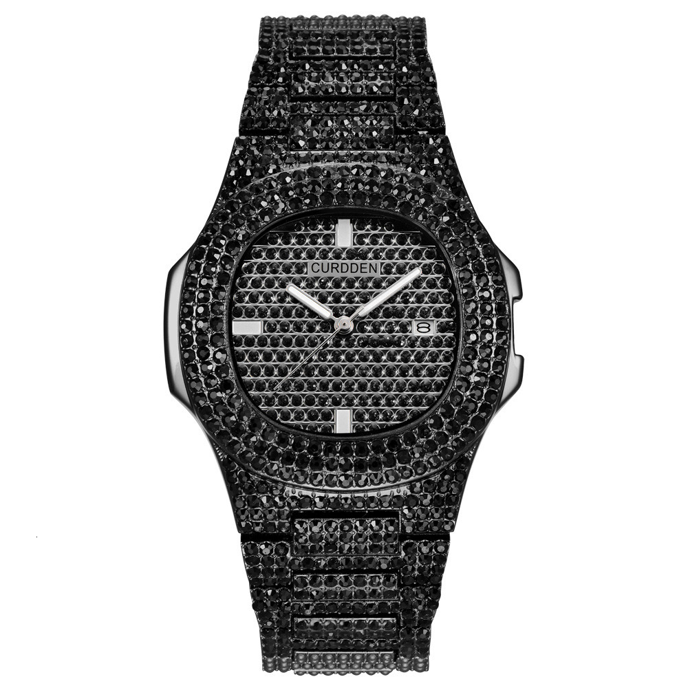 bling diamonds watches for unisex fashion women watch men business stainless steel clock hours free shipping (3)