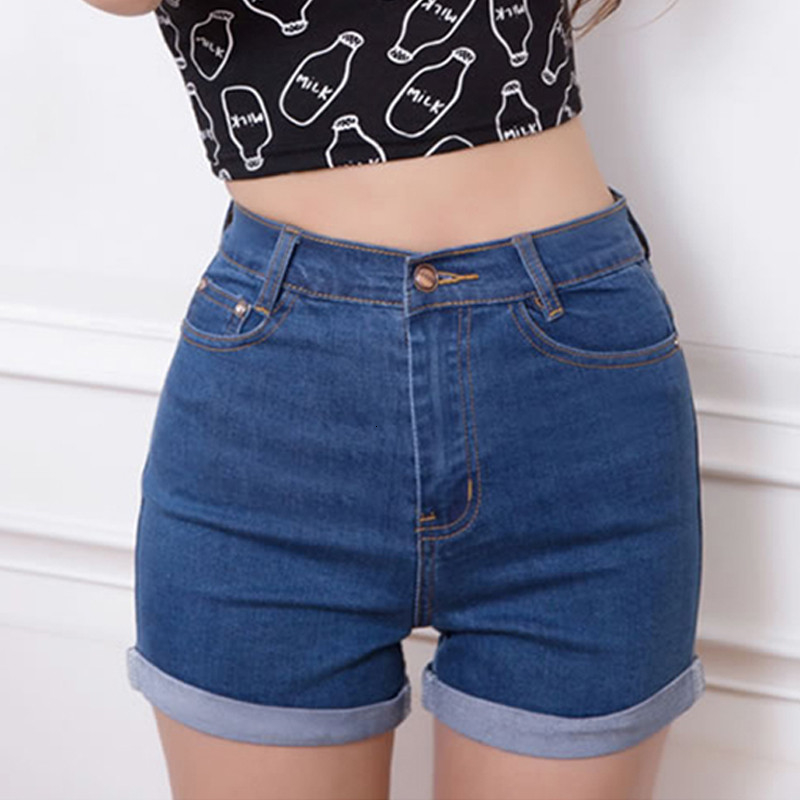 Casual--New-Korean-Style-Summer-Vintage-High-Waisted-Denim-Women-Shorts-Plus-Size-Slim-Stretch