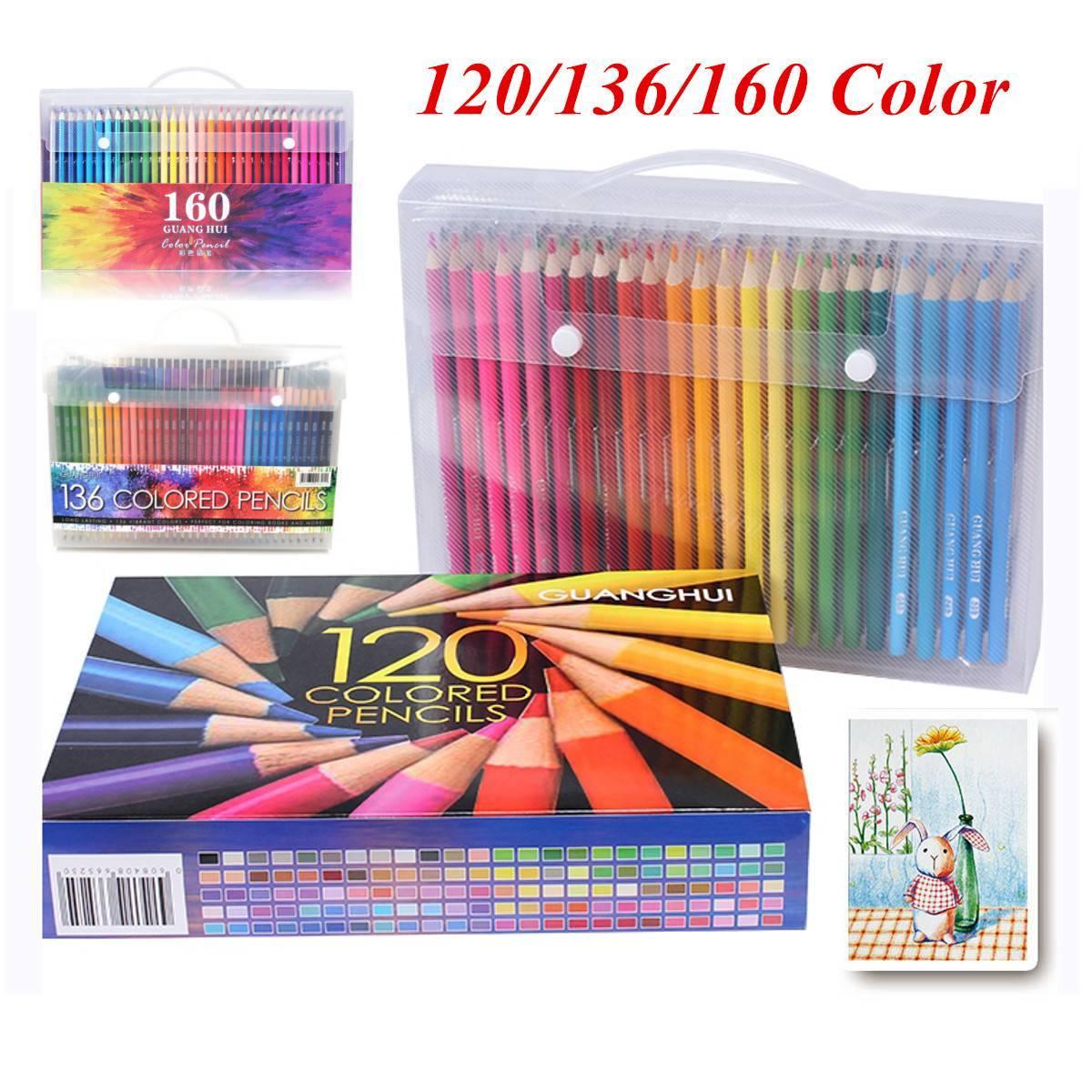 Couleur Peinture Pour Bureau Professionnel professionnel crayon set bois de couleur dessin au crayon crayons pour la  peinture école artiste fournitures de bureau sketch 120/136/160 couleurs