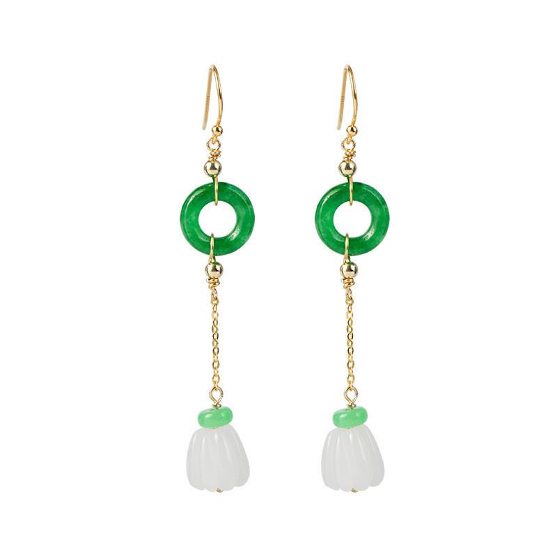 Jolie Femme Vert naturel jade jadeite plaqué or Leverback Boucles D/'oreilles