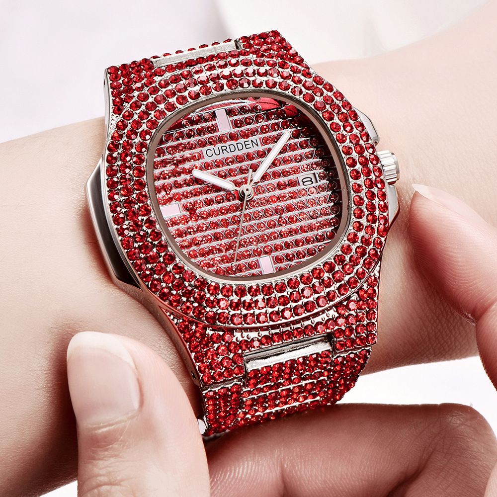 bling diamonds watches for unisex fashion women watch men business stainless steel clock hours free shipping (10)