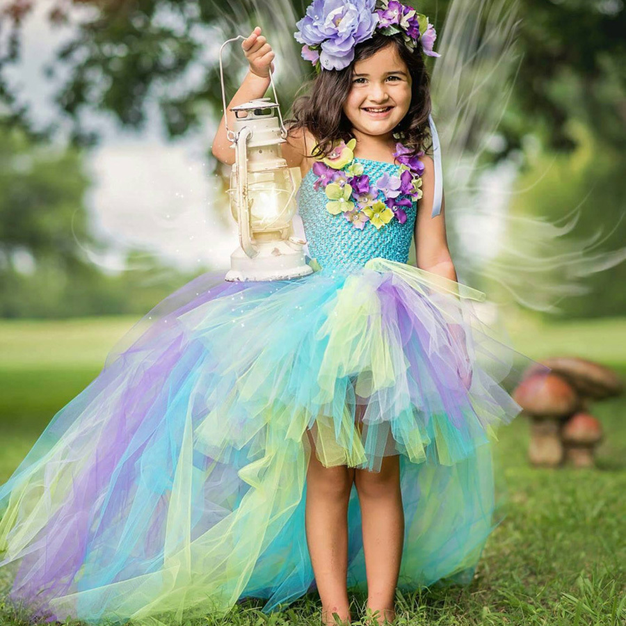 Exquisite Peacock Water Fairy Tutu Dress Girls Birthday Festival Party Pageant Costume Kids Teal Turquoise Purple Ball Gown Dress (8)