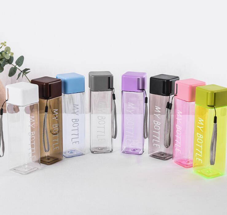 New Square Plastic My bottle500ml Korean style water Juice bottle Heat resistant