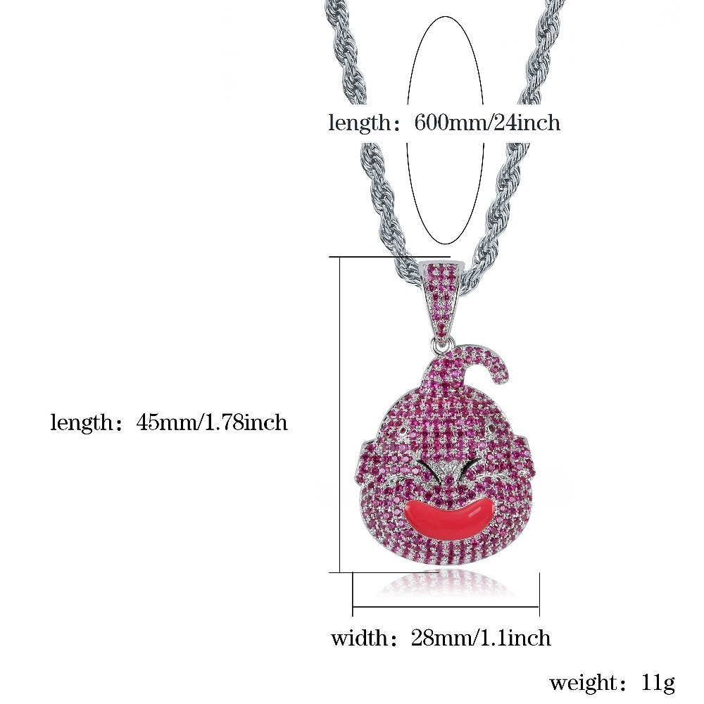 Topgrillz Dragon Ball Character Kid Buu Pendant Necklace Iced Out Cubic Zircon Hip Hop Gold Silver Color Men Charm Chain Jewelry J190615
