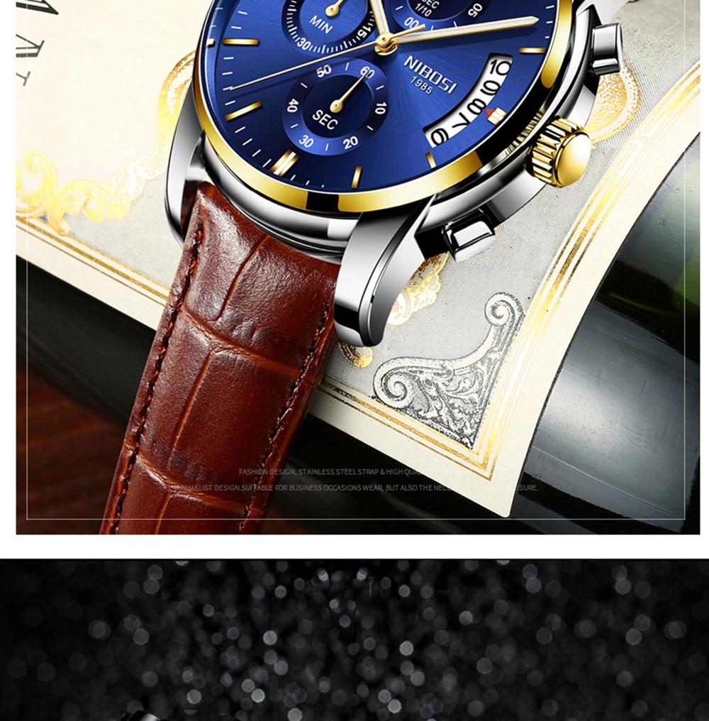 NIBOSI Mens Watches Top Brand Luxury Premium Luxury Fashion Luminous Waterproof Watch High-end Calfskin Pure Steel Strap Blue (8)