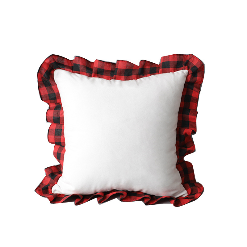 Blank Sublimation Pillowcase Creative Thermal Transfer DIY Plush Pillow Case Scottish Lattice Edge Pillow Cushion Cover 52*52cm A09