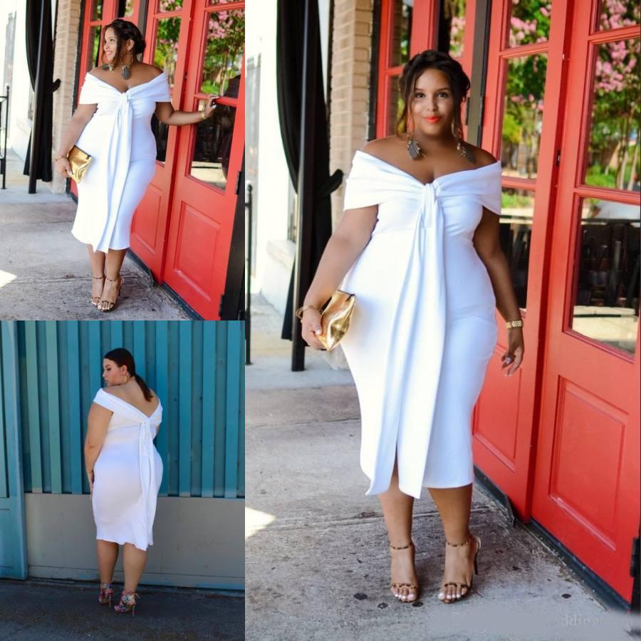 charming white plus size prom kleider weg von der schulter kurze  abendkleider Ärmeln günstige tee länge backless abendkleid
