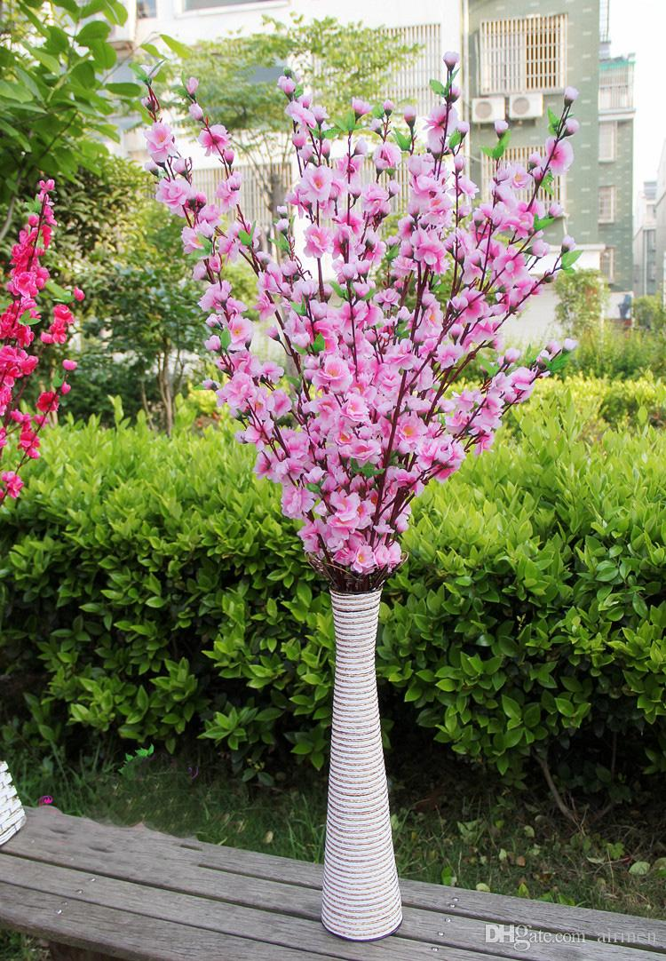 Artificial Cherry Spring Plum Peach Blossom Branch Silk Flower Tree For Wedding Party Decoration white red yellow pink