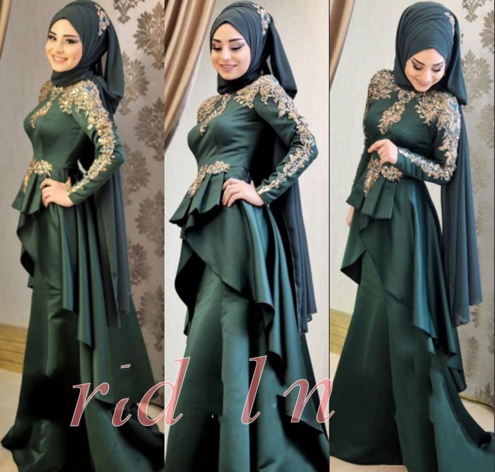 16 neue muslimische abendkleider mit langen ärmeln applique satin formale  partykleider hijab islamischen dubai kaftan arabisch meerjungfrau