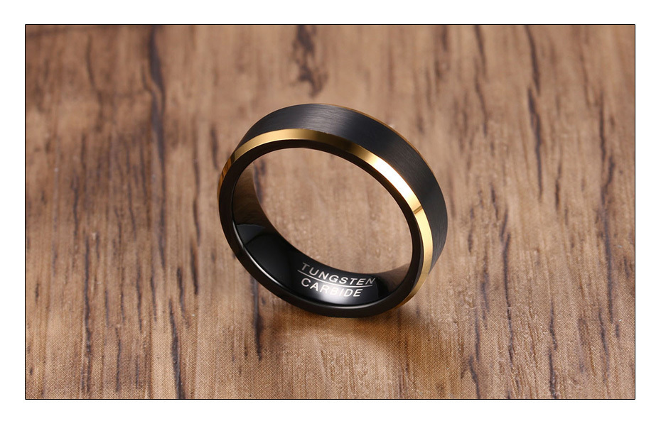 Meaeguet Black Gold Color Tungsten Carbide Engagement Rings Jewelry Men Matte Brushed Wedding Bands USA Size 8-12 (3)