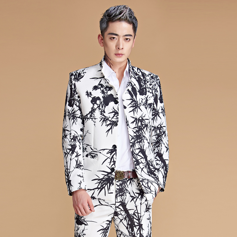 Man Design Blue And White Chinese Tunic Suit Youth Stand Lead Suit Wedding Clothing Singer Host Stage Costume Male Performance Outfits
