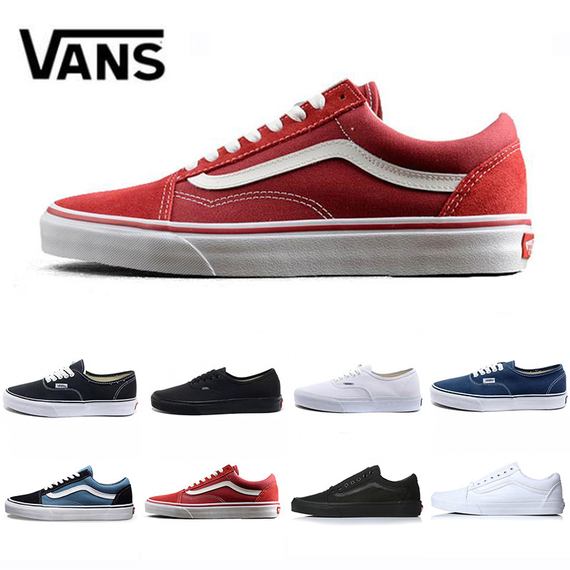 New Old skool Canvas mens casual shoes black white blue red Classic men women trainers sports sneakers Skate Vanssneakers 36 44