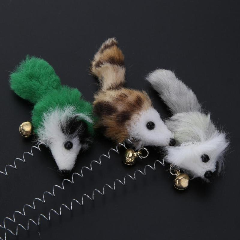 Funny Cat Toys Elastic Feather False Mouse Bottom Sucker Toys For Cat Kitten Playing Pet Seat Scratch Toy Pet Cat Product