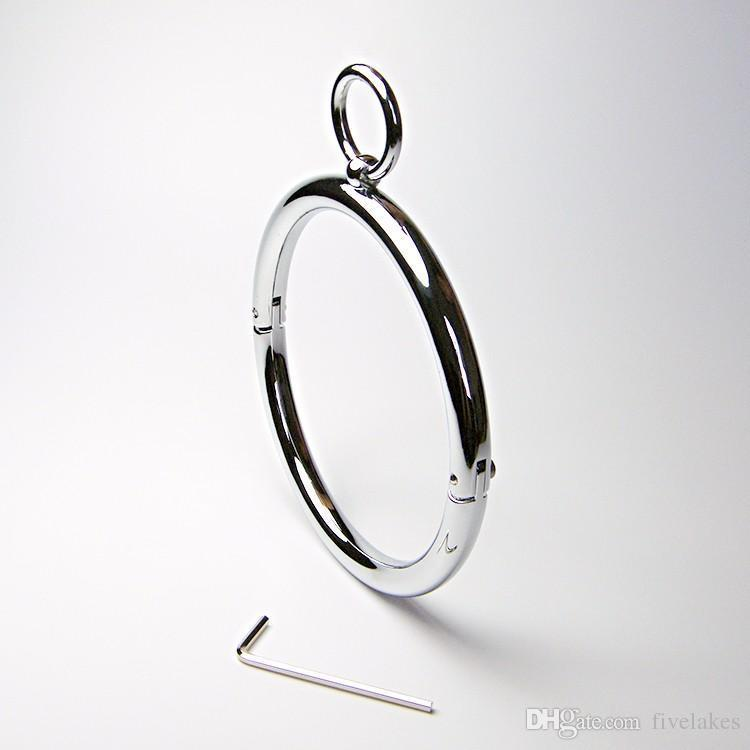 latest Unisex Round Alloy Metal Bondage Neck Ring Collar Restraint Necklet Necklace Pins Locking Bdsm Sex Games Toy
