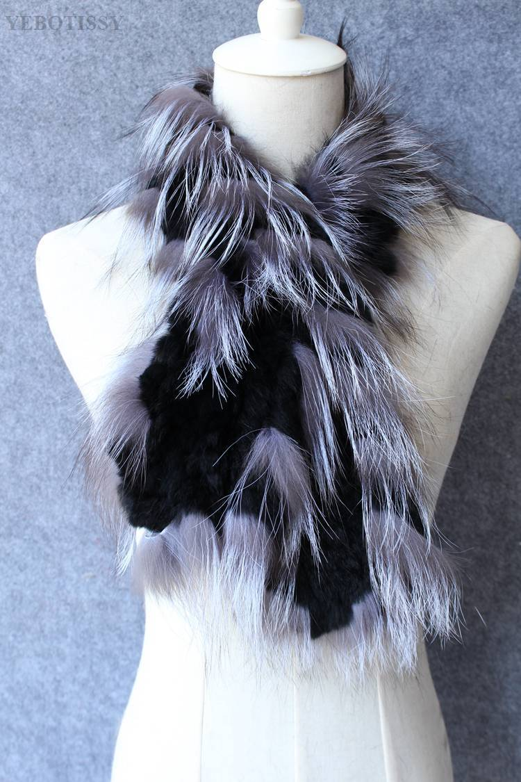 natural rex rabbit fur scarf silver fox fur (3)