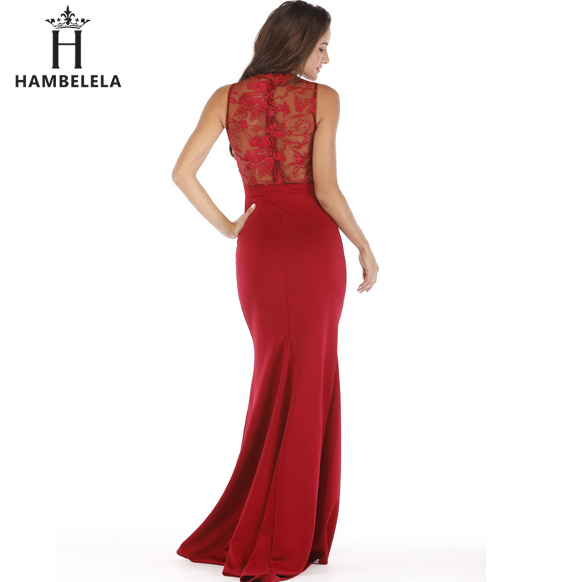 HAMBELELA Long Maxi Backless 2019 Women Dress Summer Evening Party Dresses Sexy O-Neck Elegant Floral Lace Dress Vestidos Longo (8)
