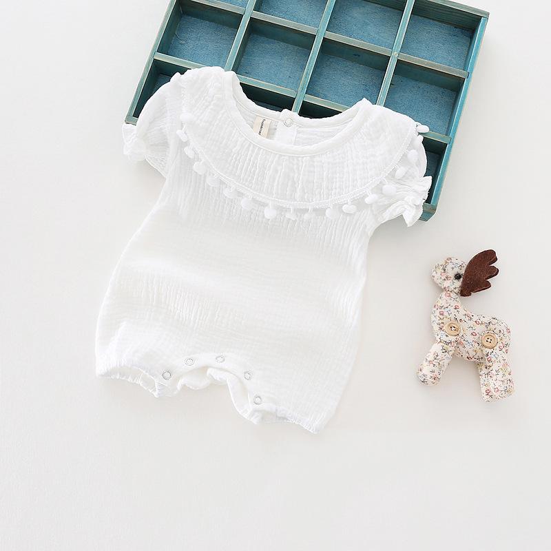 Cute Newborn Baby Girl Romper 2017 Summer short sleeve Princess fur ball Sunsuit One Pieces Tassel Clothes free drop shipping (3)