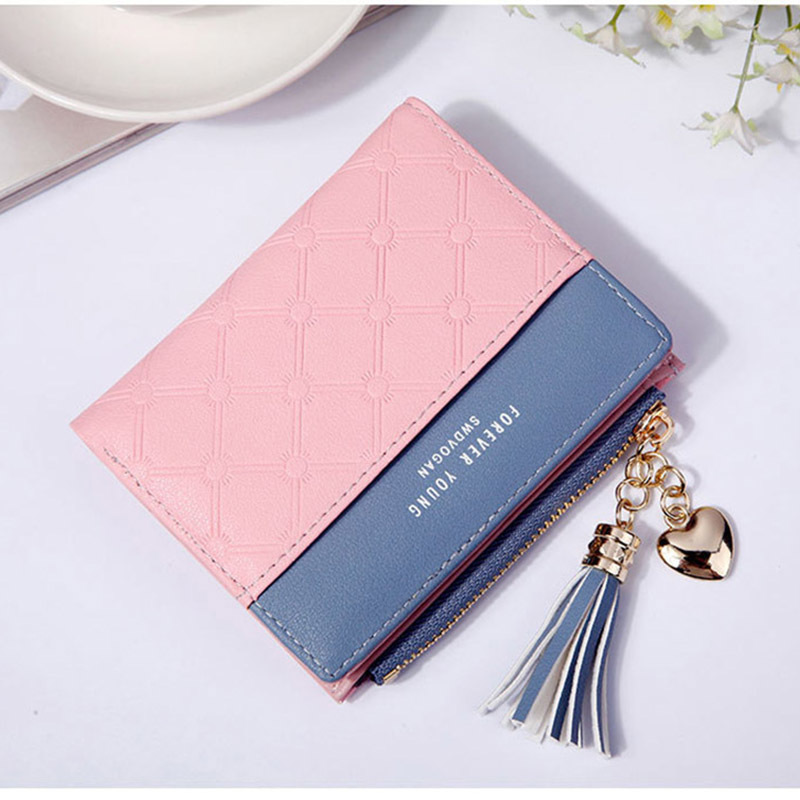 Women Wallet Female Short Paragraph Coin Purse Color Wallet Women Small Fold Wallets Tassel Zipper Button Bag Credit Card Holder (5)