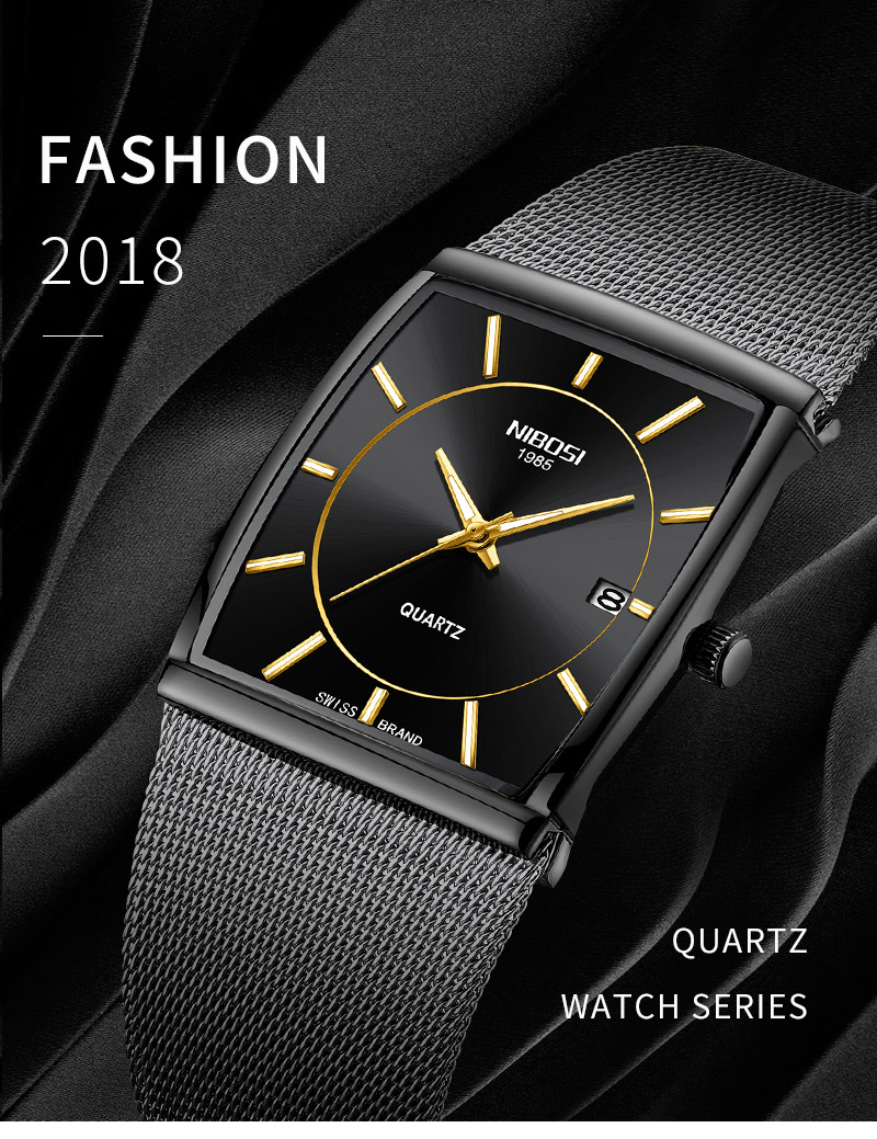 Factory Direct Sales Luxury Luminous Men`s Waterproof Watch NIBOSI Quartz European Style Unique New Square Stainless Steel Watch (1)
