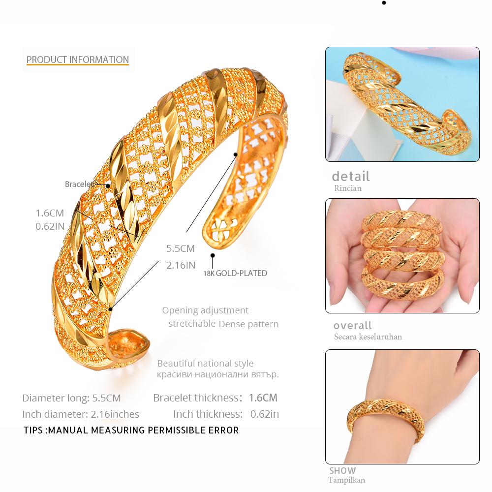 Wando African Bangles For Women's Gold Color Dubai Jewelry Ethiopian Bangle Arab Bracelets,bridal Gift/mom Present B145 J190703