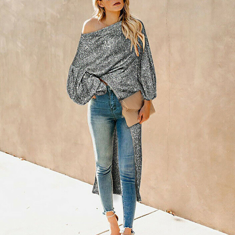 Pinsparkle Fashion Women Casual Off Shoulder Long Sleeve Knit Knitwear Pullover Sweater Boat Neck