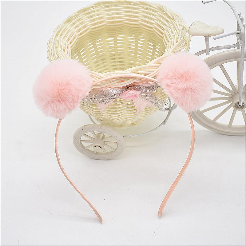 Boutique Fashion Cute Fur Pom Pom Hairbands Hair Sticks Solid Fur Ball Headbands Princess Headware Winter Hair Accessories