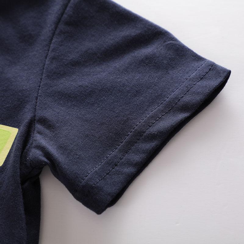 WLG boys summer casual t shirts baby boy dark blue cartoon car printed t-shirt kids all match cotton tops children 2-7T
